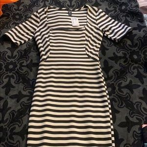 Striped fitted pencil dress